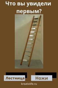 Тест по картинкам. Что вы первым увидели? лестница или ножи