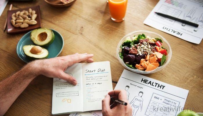 Дневник похудения. Подсчет калорий и составление рациона