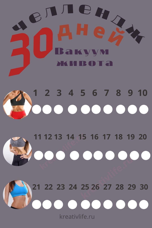 Челлендж 30 дней вакуум живота