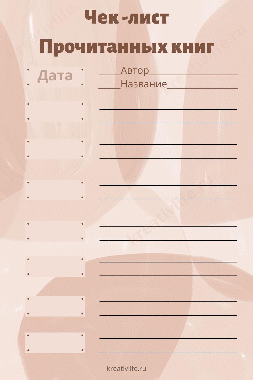 Чек -лист прочитанных книг