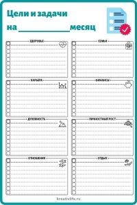 Чек-лист цели и задачи на месяц