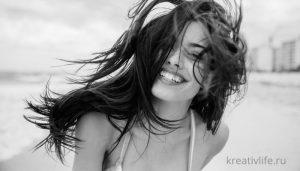 Портрет счастливой девушки.