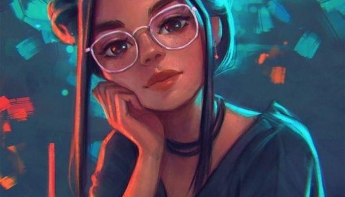 Рисунок девушка в очках