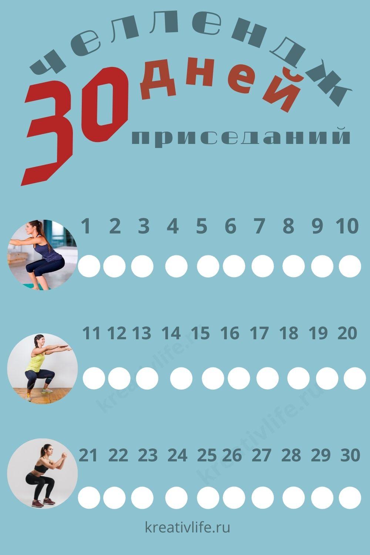 Челлендж 30 дней приседаний